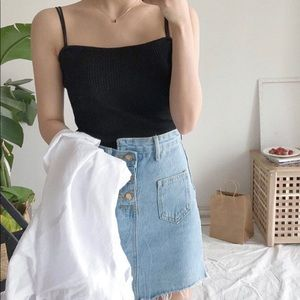 Black Camisole double strap Crop top